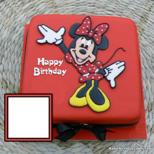Astounding Minnie Mouse Birthday Cakes With Photo And Name Personalised Birthday Cards Veneteletsinfo