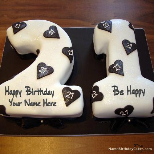 Super 21St Birthday Cake With Name Funny Birthday Cards Online Benoljebrpdamsfinfo