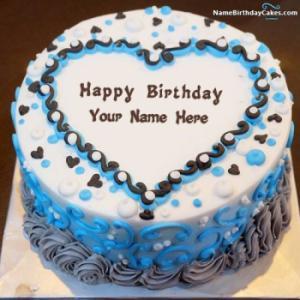 Amazing Ice Cream Cake Birthday Wish For Lover With Name