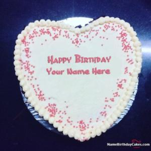 Awesome Heart Shape Happy Birthday Cake For Lover With Name