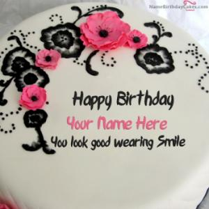 Best Flowers Birthday Cake For Wife With Name