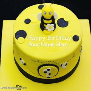 Bumble Bee First Birthday Cake With Name