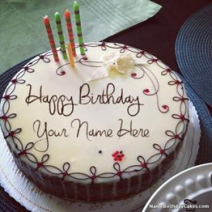 Candles Decorated Happy Birthday Cake With Name