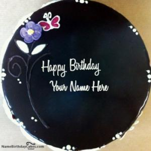 Chocolate Birthday Cake For Hubby With Name