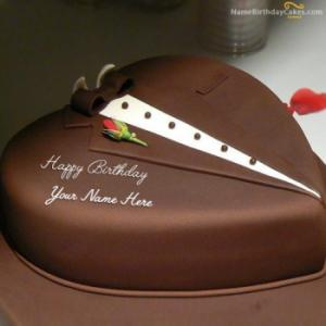 Chocolate Heart Cake For Husband With Name