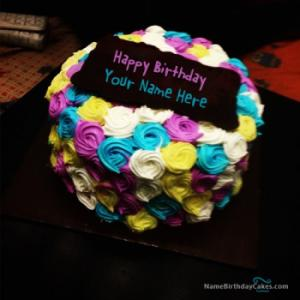 Colorful Birthday Cake For Sister With Name