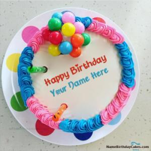Colorful Happy Birthday Cake For Girls With Name