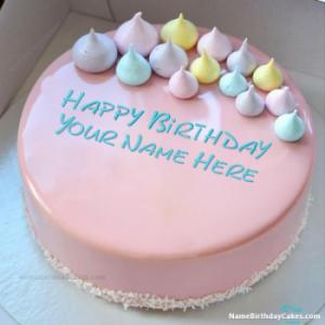 Creamy Strawberry Cake For Birthday With Name