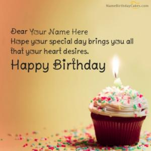 Cupcake Birthday Wish With Name