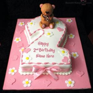 Cute 2nd Birthday Cake With Name