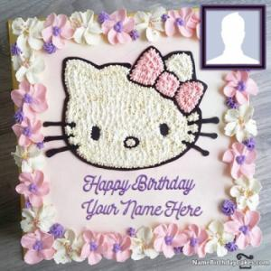 Cute Kitty Birthday Cakes For Kids With Name