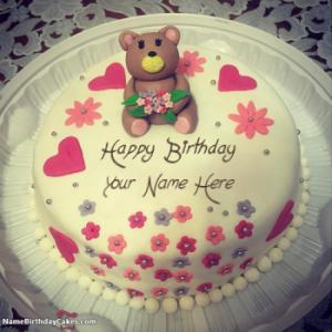 Cute Teddy Bear Happy Birthday Cake For Girls With Name