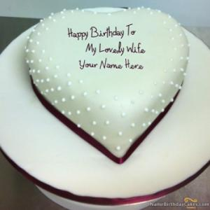 Decent Heart Birthday Cake For Wife With Name