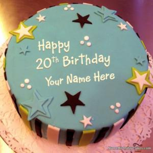 Elegant 20th Birthday Cake With Name