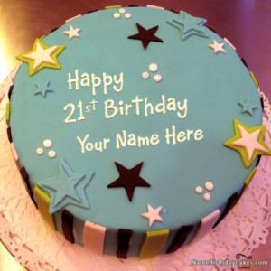Elegant 21st Birthday Cake With Name