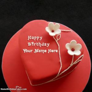 Famous Red Velvet Cake For Happy Birthday Wishes With Name