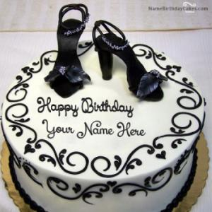 Fashion Happy Birthday Cake For Girls With Name