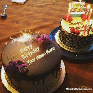Fireworks Candles Chocolate Cake For Happy Birthday With Name