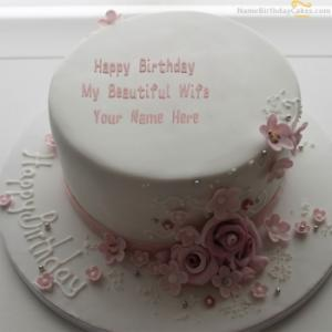 Flowers Birthday Cake For Wife With Name