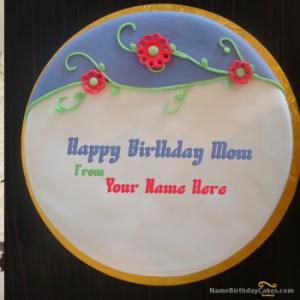Fondant Birthday Cake For Mother With Name