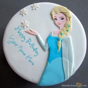Frozen Elsa Birthday Cake With Name