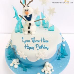 Frozen Olaf Birthday Cake With Name