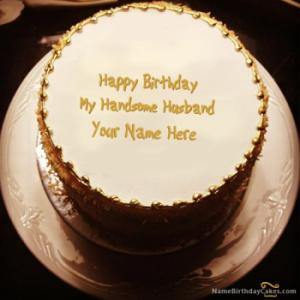 Golden Birthday Cake For Husband With Name