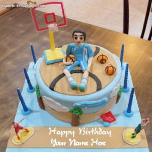 Happy Birthday Cake For Basketballer With Name