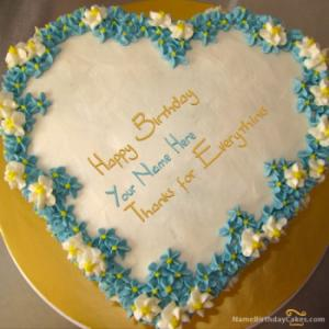 Heart Birthday Cake For Husband With Name