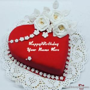 Heart Shaped Birthday Cake For Lover With Name