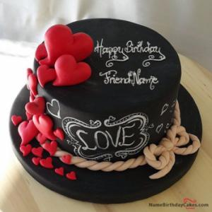 Hearts Chocolate Birthday Cake For Lover With Name