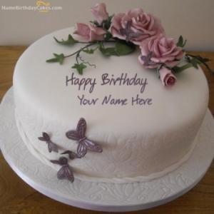 Birthday Flower Cake With Name
