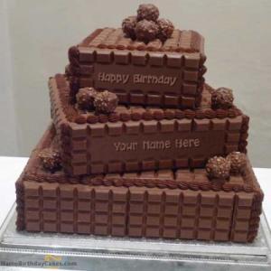 Chocolate Layered Birthday Cake With Name