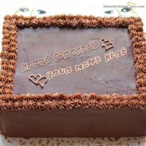 Square Chocolate Cake With Name
