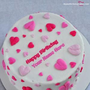 Little Hearts Birthday Cake For Lover With Name