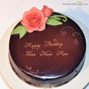 Lovely Chocolate Cake For Wife With Name