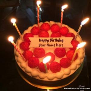 New Arrival Strawberry Shortcake With Candles With Name