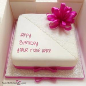 Pink Birthday Cake For Lover With Name