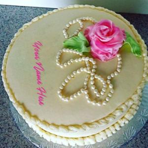 Real Like Birthday Cake With Rose With Name