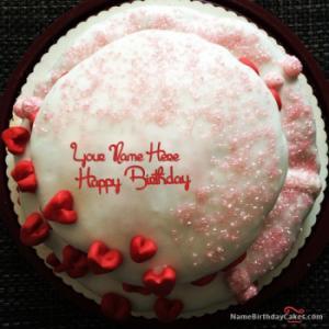 Red Velvet Birthday Cake For Lover With Name