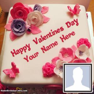 Romantic Valentine Cake With Name And Photo
