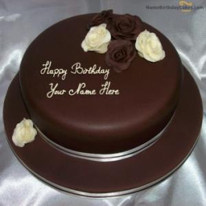 Rose Chocolate Birthday Cake With Name