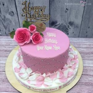 Rose Petals Birthday Cake With Name