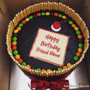 Sweet Candy Cake For Happy Birthday Wish With Name