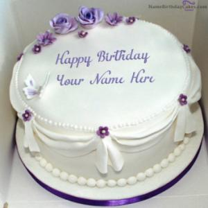 Voilet Roses Birthday Cake For Wife With Name
