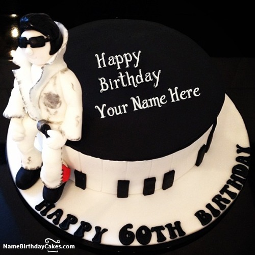 Amazing Men 60th Birthday Cake With Name & Photo