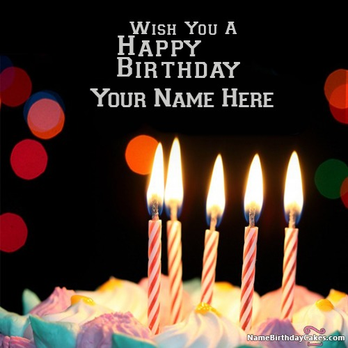 Write Name On Awesome Candles Happy Birthday Wishes