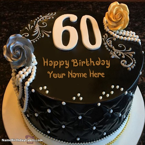 Awesome Decorated Chocolate 60th Birthday Cakes With Name & Photo