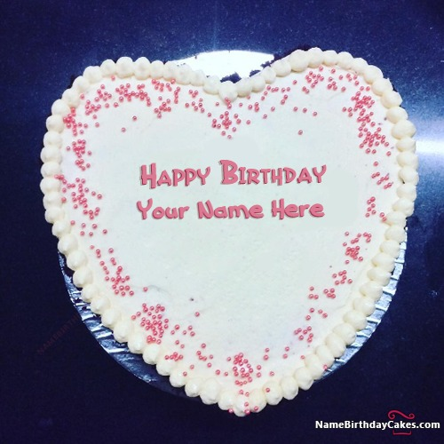 Awesome Heart Shape Happy Birthday Cake For Lover