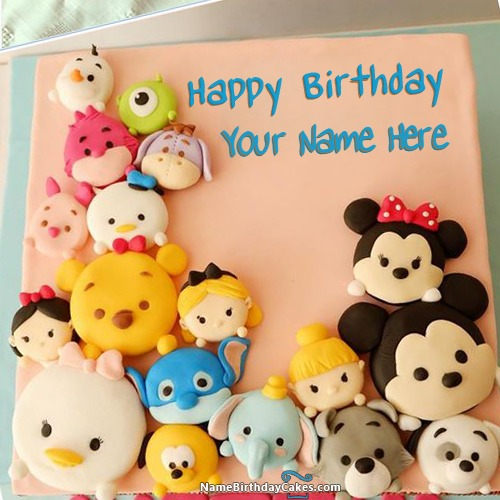 Awesome Mix Cartoon Faces Birthday Cake For Kids With Name & Photo